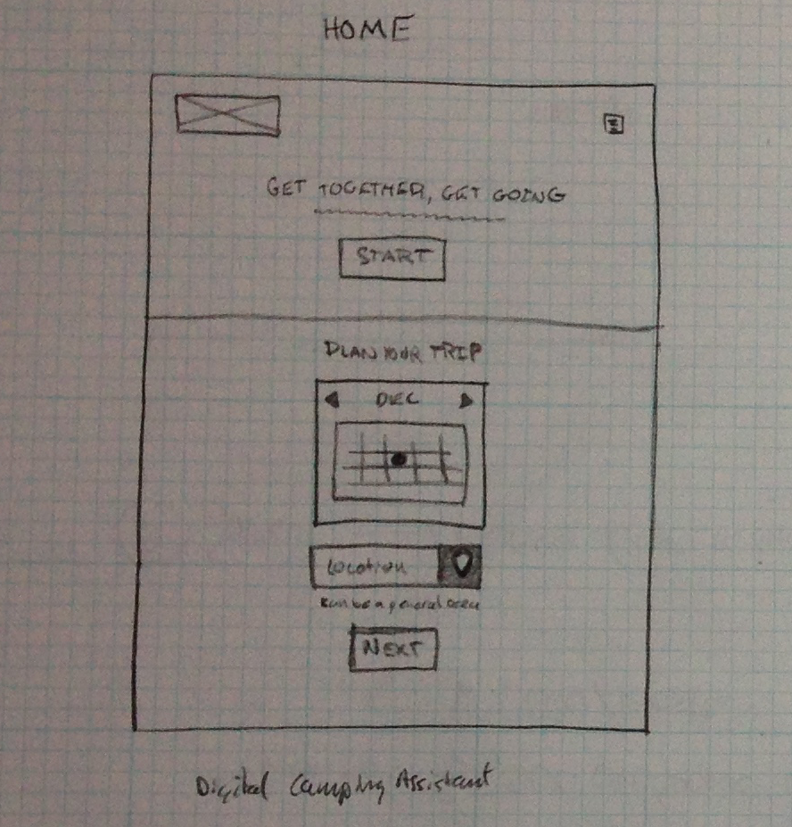 Pack Party Home Page Wireframe